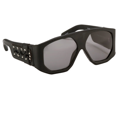 Jeremy Scott Sunglasses D-Frame Leather Lace Black With Grey Category 3 Lenses JSLEATHERC1SUN - Watches & Crystals