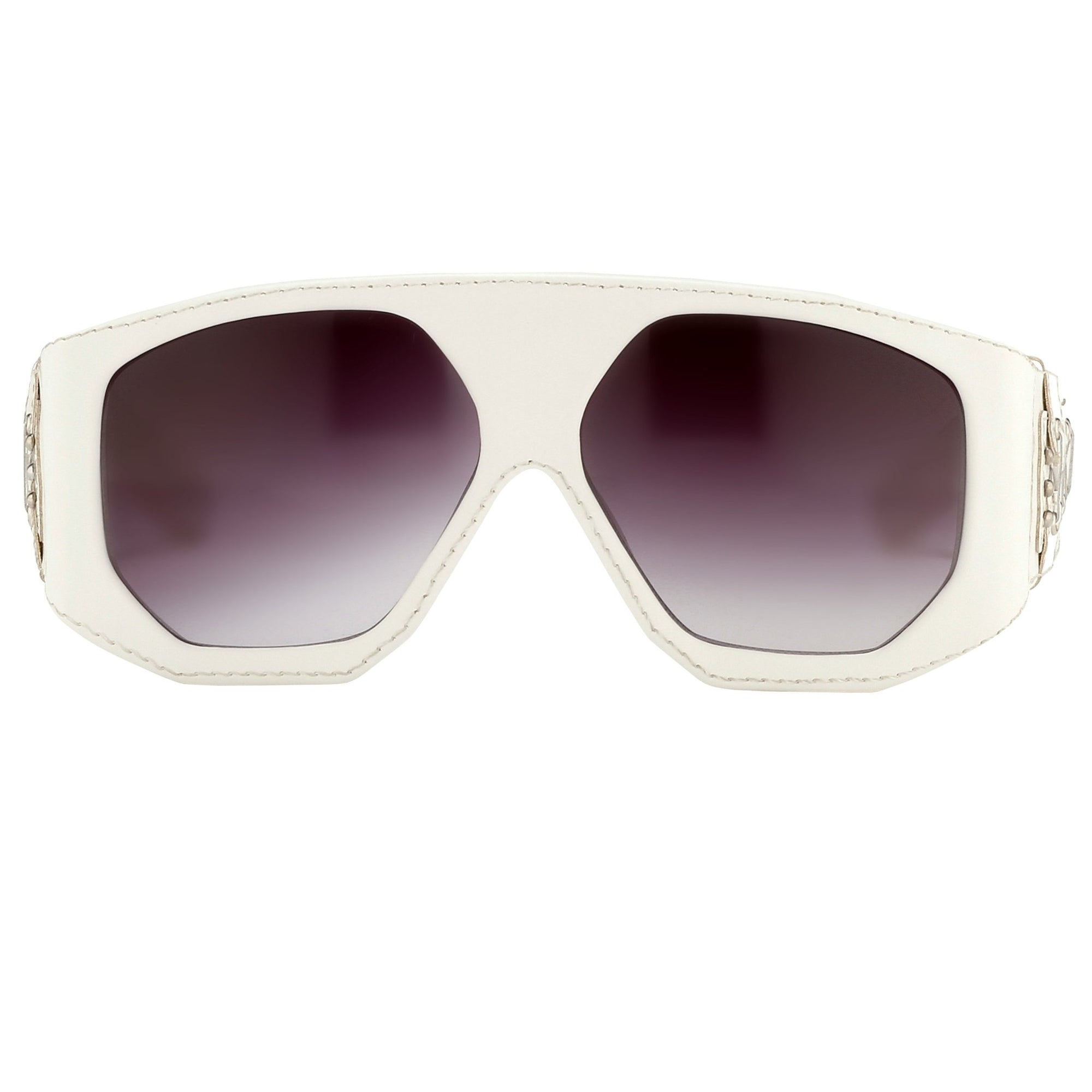 Jeremy Scott Sunglasses D-Frame Leather Lace White With Grey Gradient Category 3 Lenses JSLEATHERC2SUN - Watches & Crystals