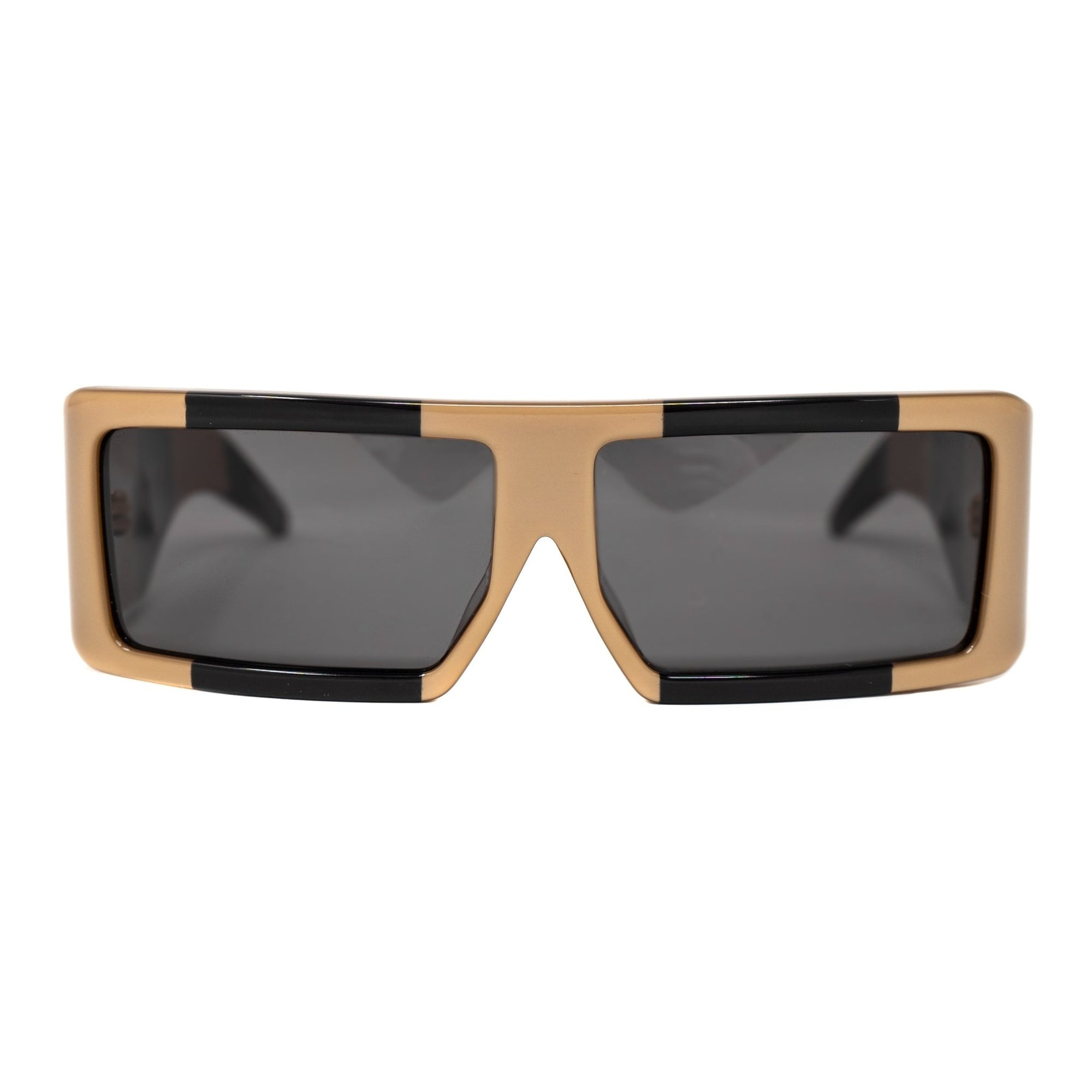 Jeremy Scott Sunglasses Rectangular Big Tut Brown & Black with Grey CAT3 Lenses 6JSBIGTUTGOLDBLACK - Watches & Crystals