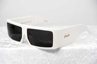 Jeremy Scott Sunglasses Rectangular Big Tut White with Grey CAT2 Lenses 6JSBIGTUTWHITE - Watches & Crystals