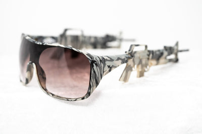 Jeremy Scott Sunglasses Rectangular Grey Camo With Amber Gradient Category 3 Lenses JSARMYC2SUN - Watches & Crystals