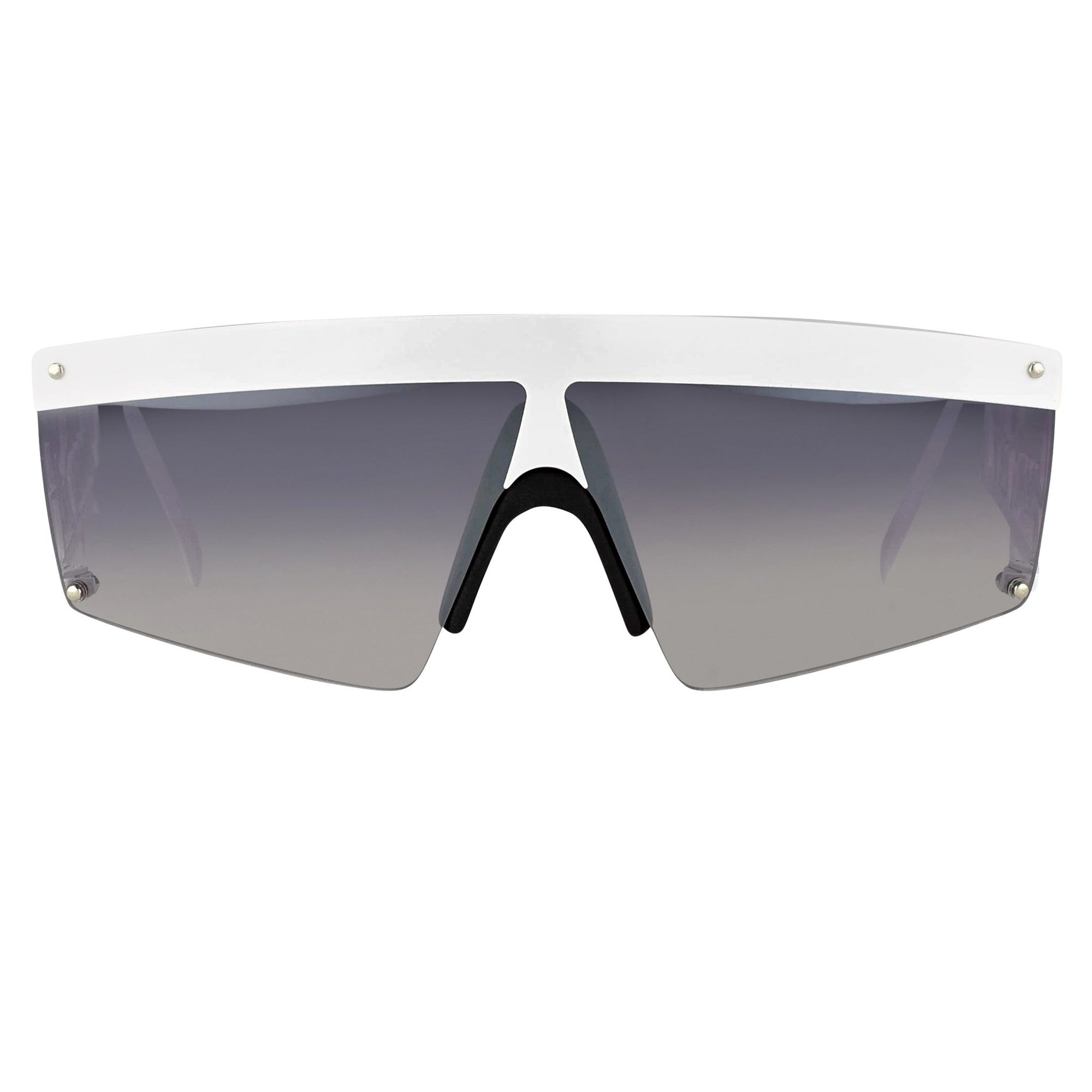 Jeremy Scott Sunglasses Shield Signature White With Grey Category 3 Graduated Flash Mirror Lenses JSSIGNATUREC7SUN - Watches & Crystals