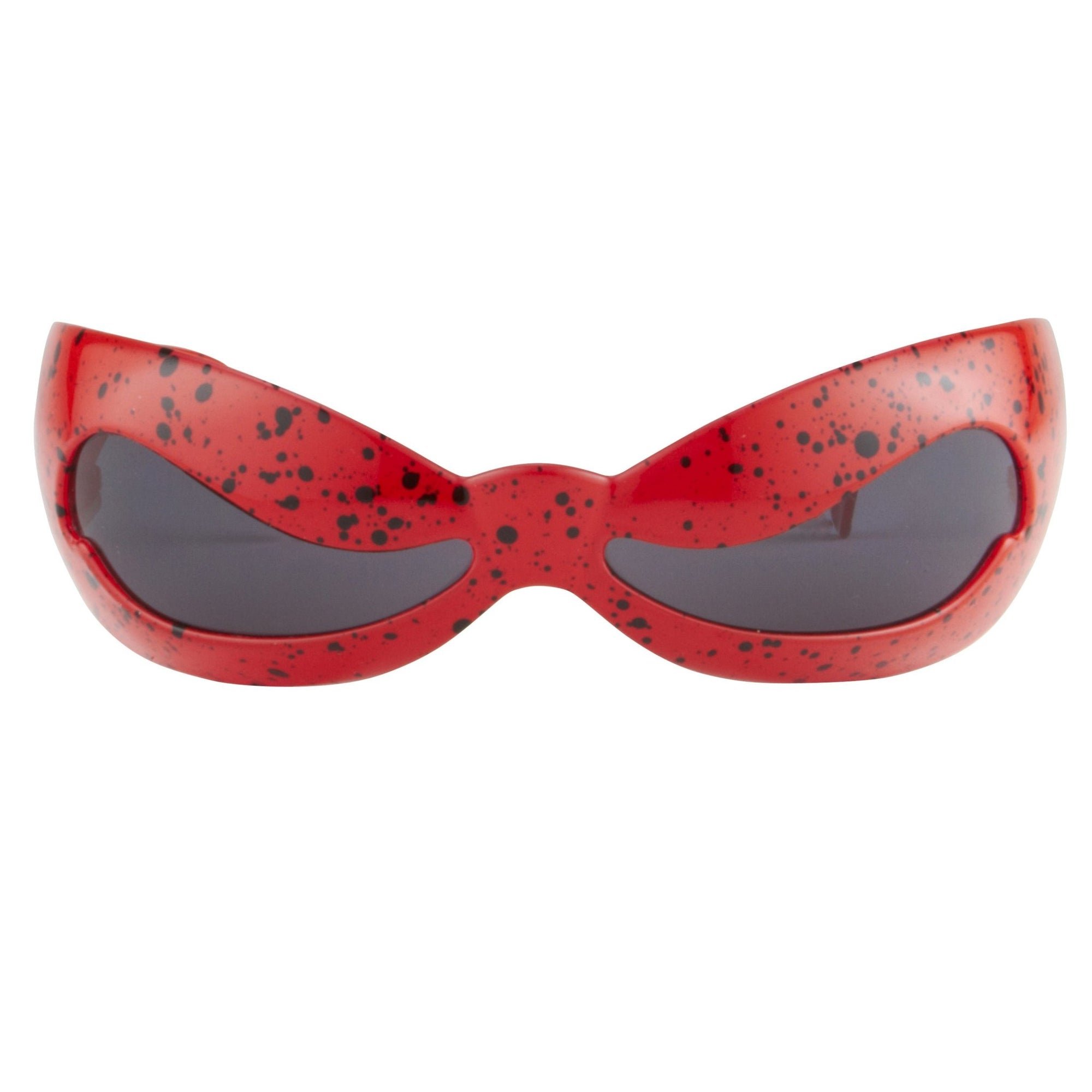 Jeremy Scott Sunglasses Unisex Special Shape Red Splatter With CAT3 Grey Lenses JSNUWAVEC4SUN - Watches & Crystals