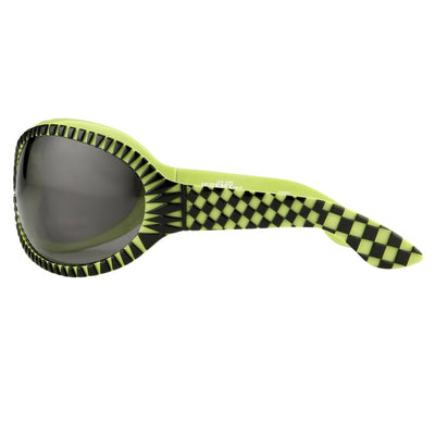 Jeremy Scott Sunglasses Wrap Around Black Green Pattern With Grey Category 3 Lenses JSWRAPC2SUN - Watches & Crystals
