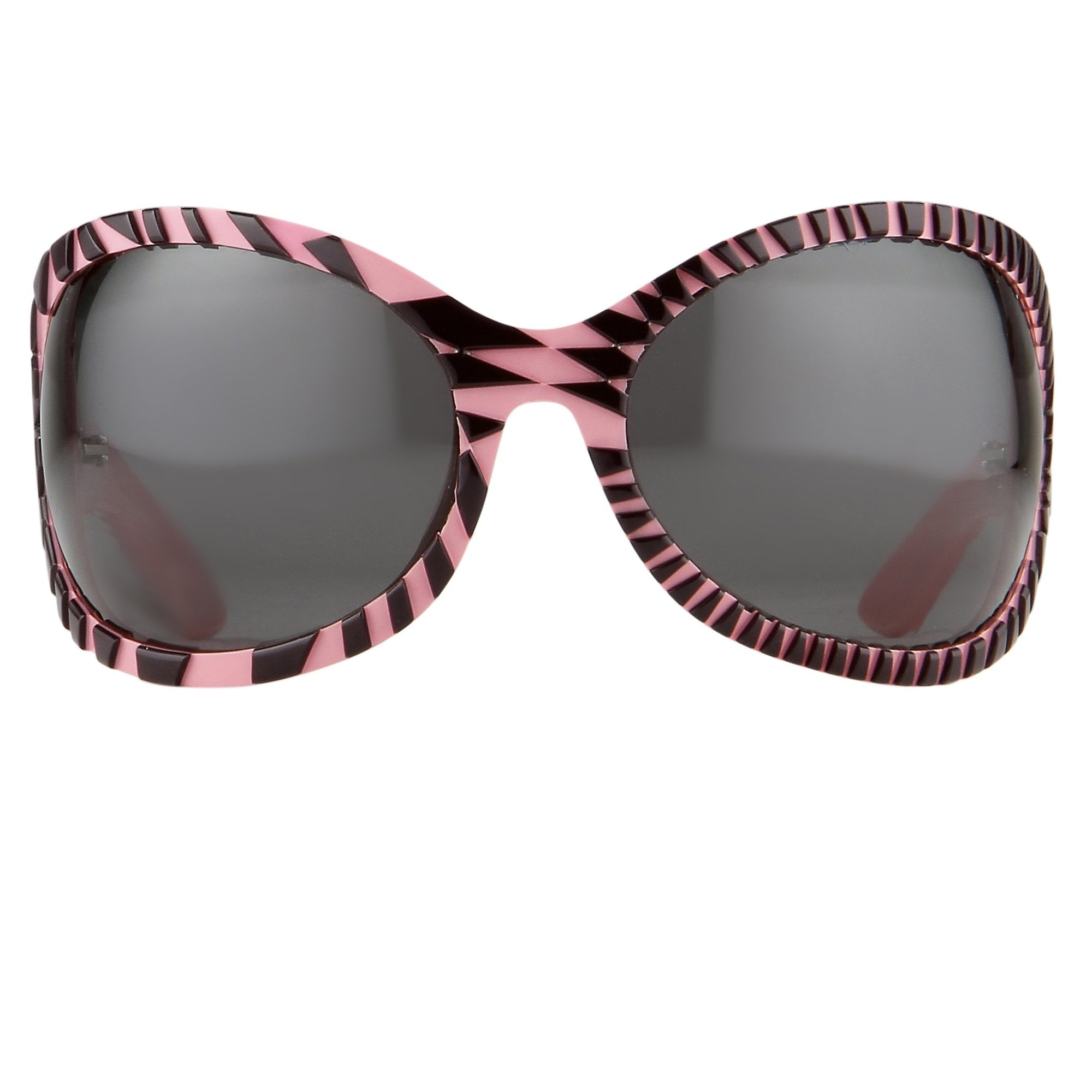 Jeremy Scott Sunglasses Wrap Around Black Pink Pattern With Grey Category 3 Lenses JSWRAPC3SUN - Watches & Crystals