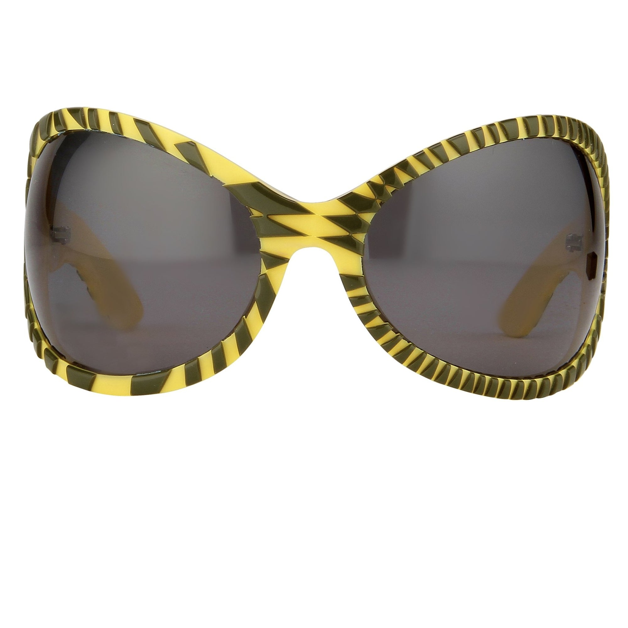 Jeremy Scott Sunglasses Wrap Around Black Yellow Pattern With Grey Category 3 Lenses JSWRAPC4SUN - Watches & Crystals