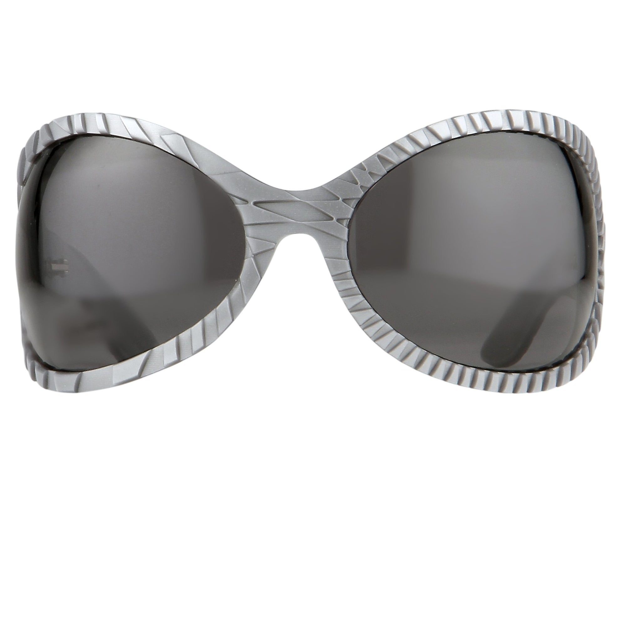 Jeremy Scott Sunglasses Wrap Around Silver Pattern With Silver Mirror Category 3 Lenses JSWRAPC5SUN - Watches & Crystals