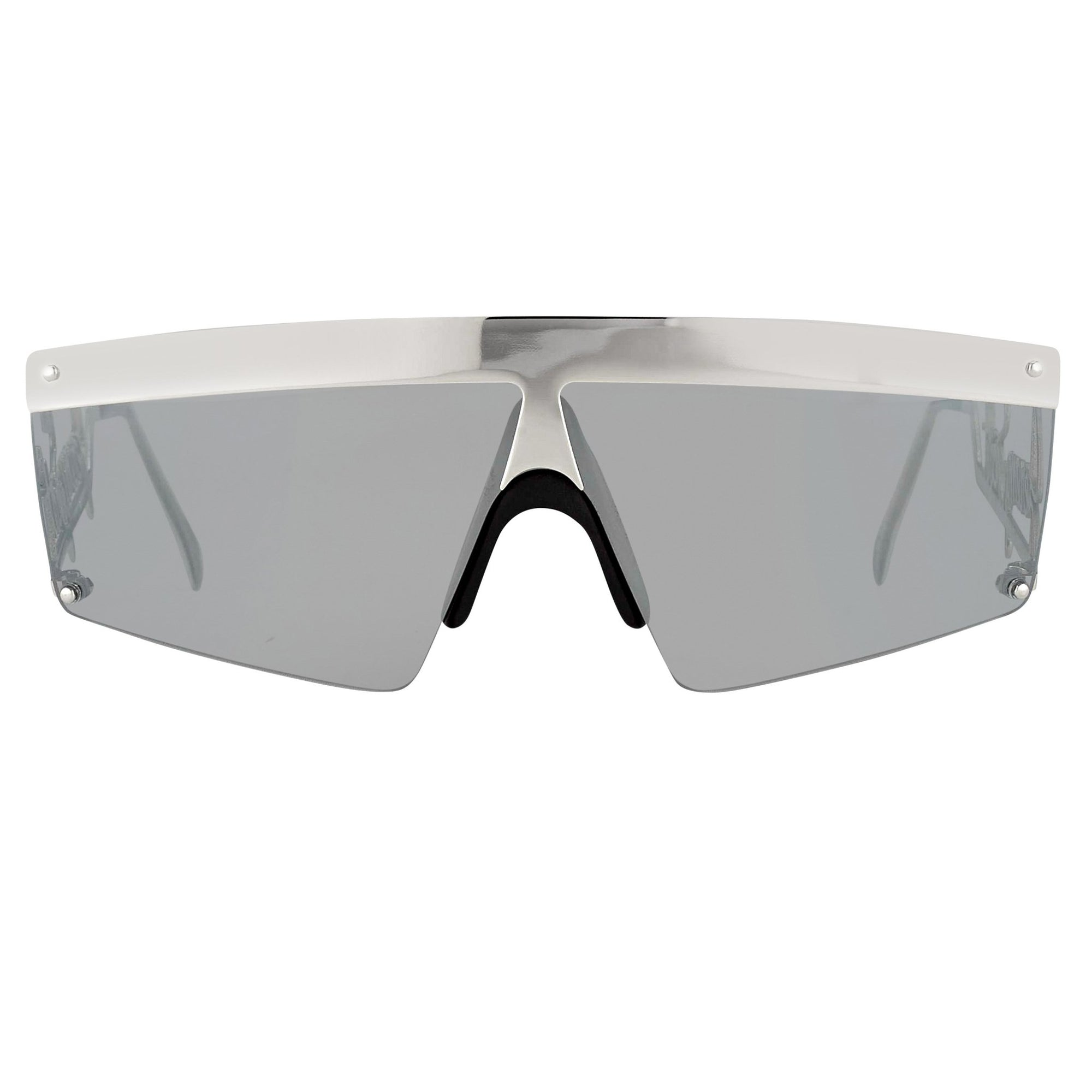 Jeremy Scott Unisex Sunglasses Signature Visor White Gold Silver With Silver Mirror CAT3 Lenses JSSIGNATUREC5SUN - Watches & Crystals