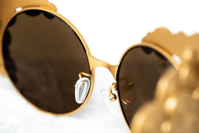 Khaleda And Fahad Women Sunglasses Cat Eyes Yellow Gold Titanium With Gold Lenses Category 3 KR2C1SUN - Watches & Crystals