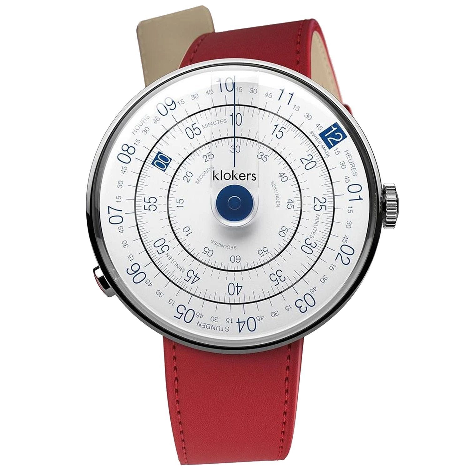 Klokers Heritage Blue Dial Red Leather - Watches & Crystals
