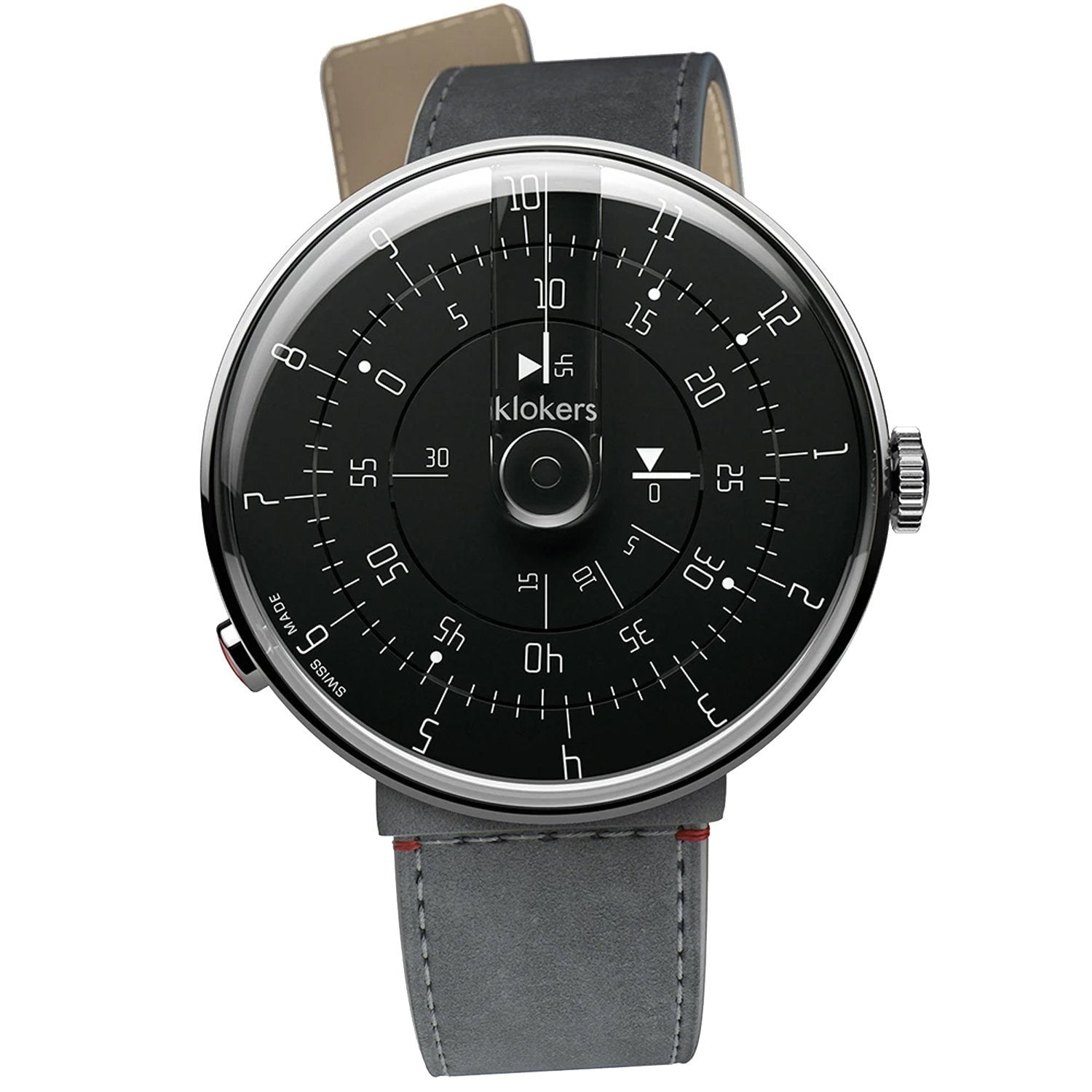Klokers Minimal Black Dial Grey Leather - Watches & Crystals