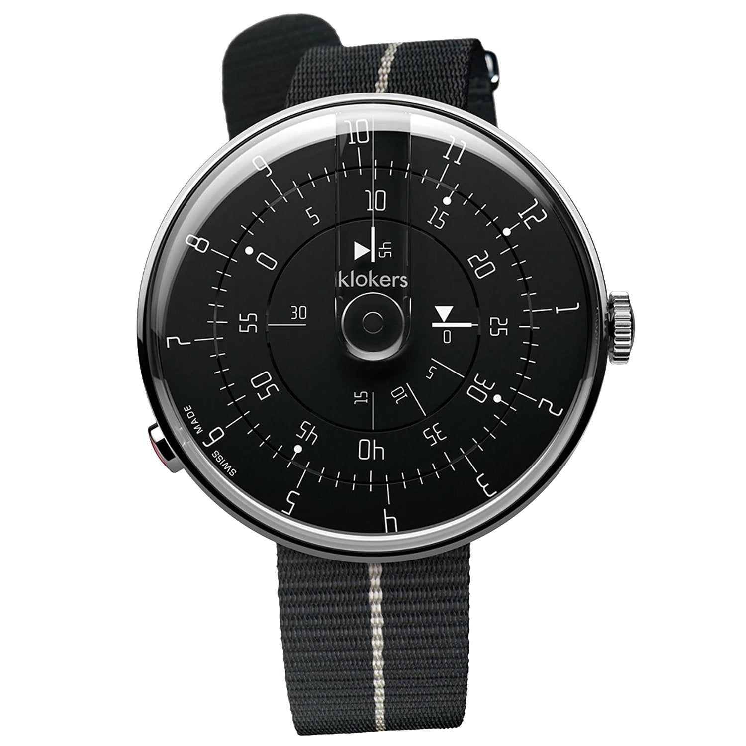 Klokers Minimal Black White Nylon - Watches & Crystals