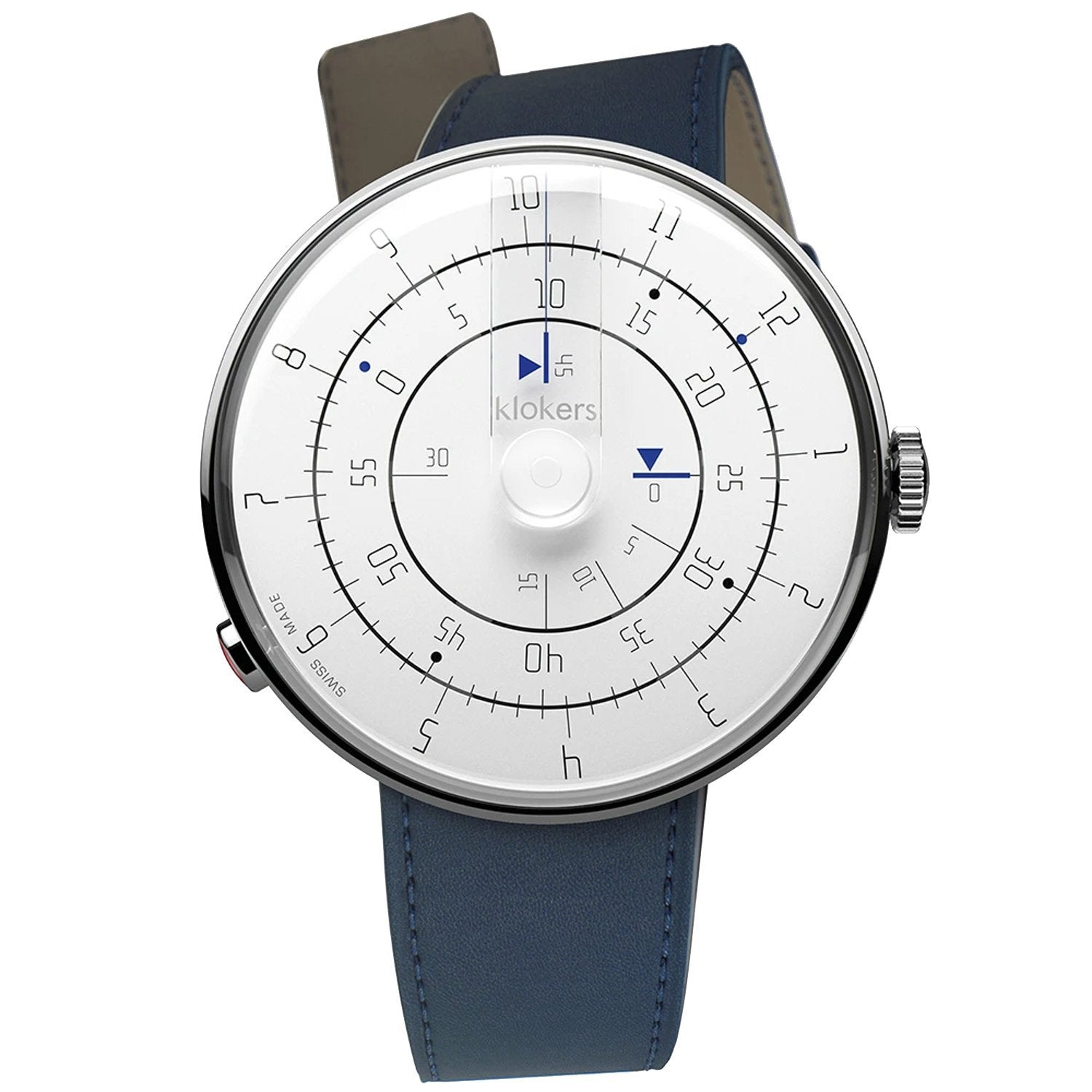 Klokers Minimal Blue Leather - Watches & Crystals
