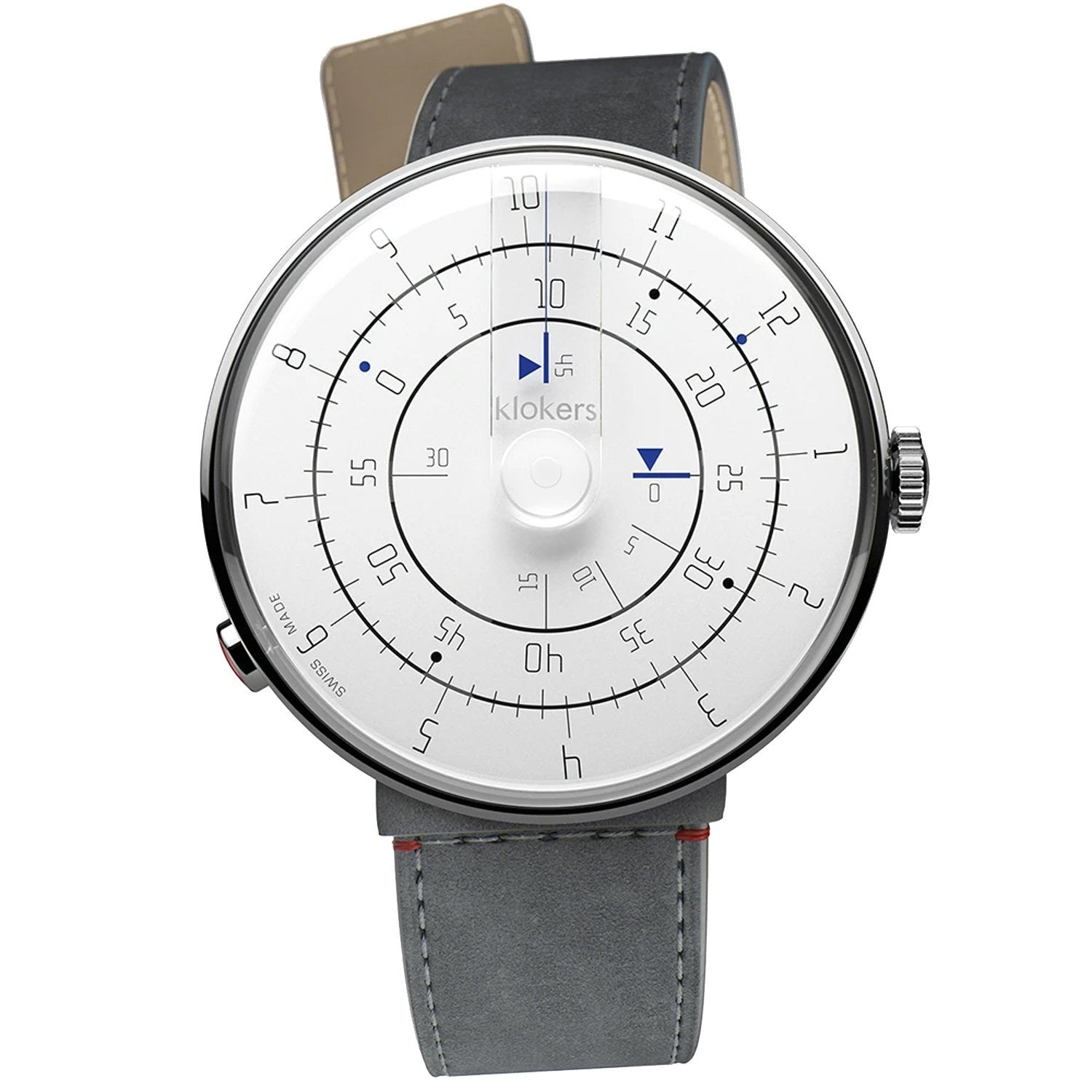 Klokers Minimal Grey Leather - Watches & Crystals