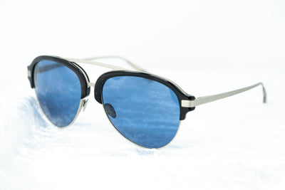 Kris Van Assche Sunglasses Black Burnt Silver and Blue Lenses Category 3 - KVA74C1SUN - Watches & Crystals