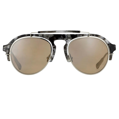Kris Van Assche Sunglasses Black Tortoiseshell Silver and Orange Mirror Lenses Category 3 - KVA65C5SUN - Watches & Crystals