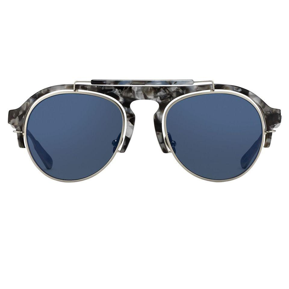 Kris Van Assche Sunglasses Navy Tortoiseshell Silver and Blue Mirror Lenses Category 3 - KVA65C4SUN - Watches & Crystals
