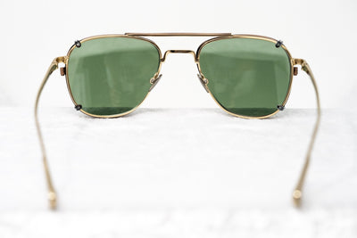 Kris Van Assche Sunglasses Rectangular Titanium Unixes Light Gold Bronze Clip-On with Green Lenses - KVA92C3SUN - Watches & Crystals