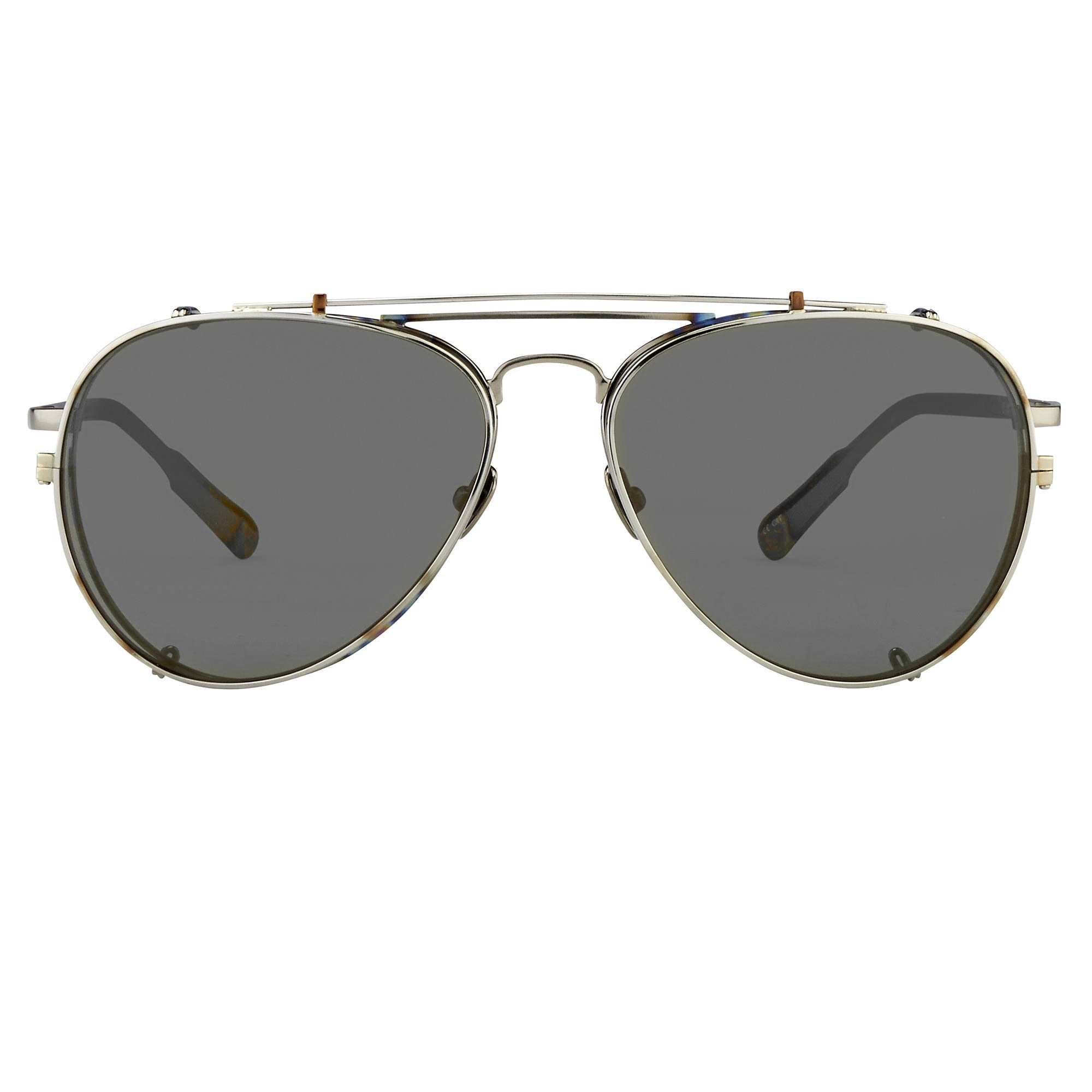 Kris Van Assche Sunglasses Titanium Unisex Burnt Silver Gold Clip-On with Silver Mirror Lenses Category 3 - KVA89C1SUN - Watches & Crystals