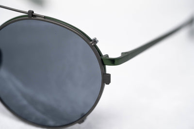 Kris Van Assche Sunglasses Titanium Unisex Oval Green Grey Clip-On and Grey Flash Mirror Lenses Category 3 - KVA70C6SUN - Watches & Crystals