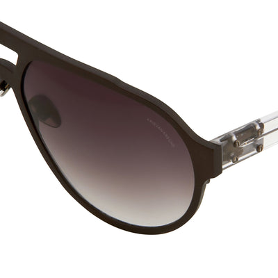 Kris Van Assche Sunglasses Unisex Matte Black Titanium and Grey Graduated Lenses Category 2 - KVA1C3SUN - Watches & Crystals