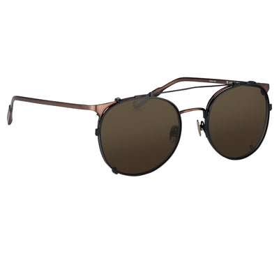 Kris Van Assche Sunglasses Unisex Oval Brushed Bronze Black Clip-On and Grey Lenses Category 3 - KVA69C1SUN - Watches & Crystals