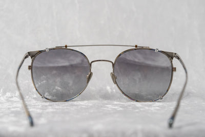Kris Van Assche Sunglasses Unisex Oval Burnt Silver and Clip-on Grey Graduated Lenses Category 2 - KVA69C2SUN - Watches & Crystals