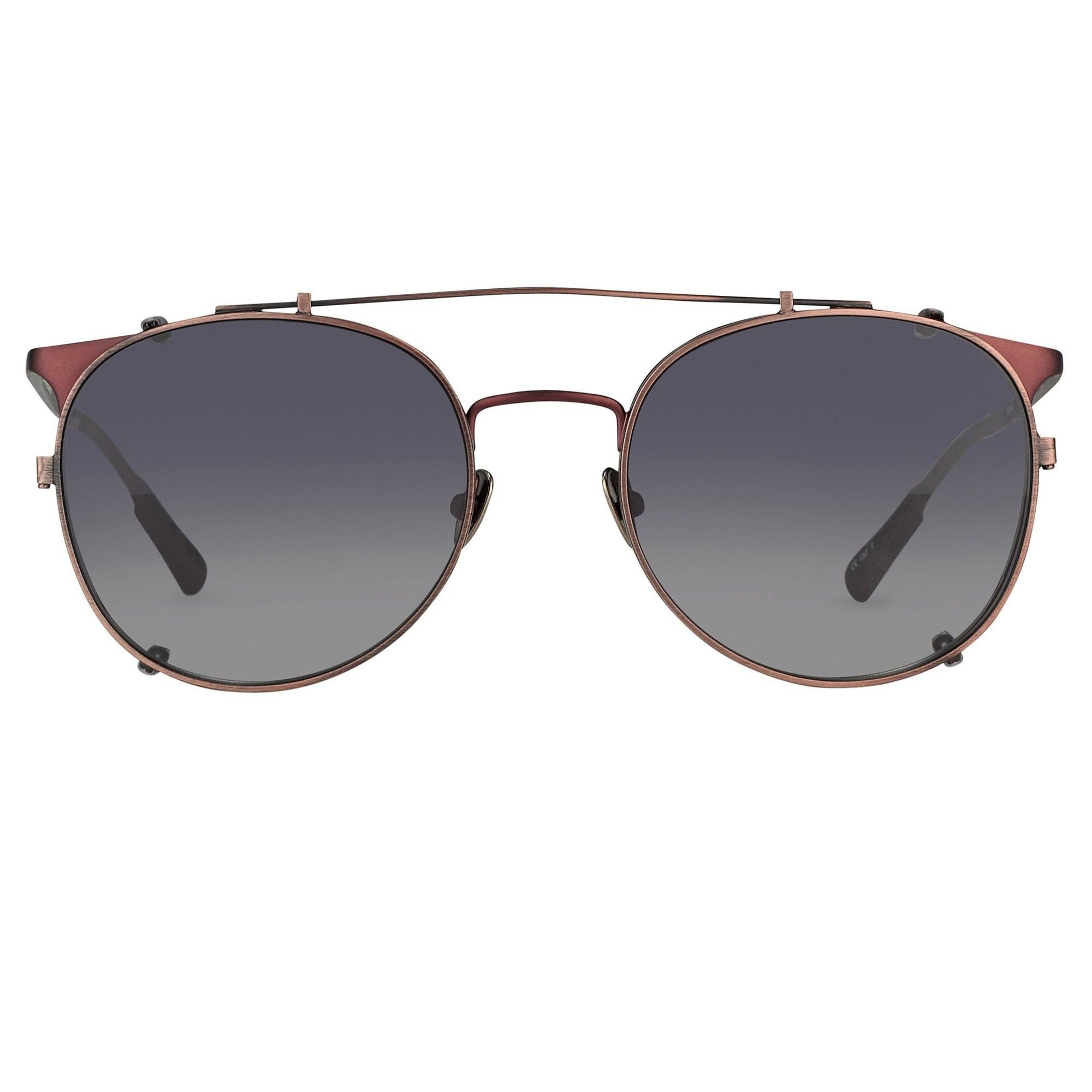 Kris Van Assche Sunglasses Unisex Oval Matte Burgundy Bronze Clip-On and Grey Lenses Category 3 - KVA69C5SUN - Watches & Crystals