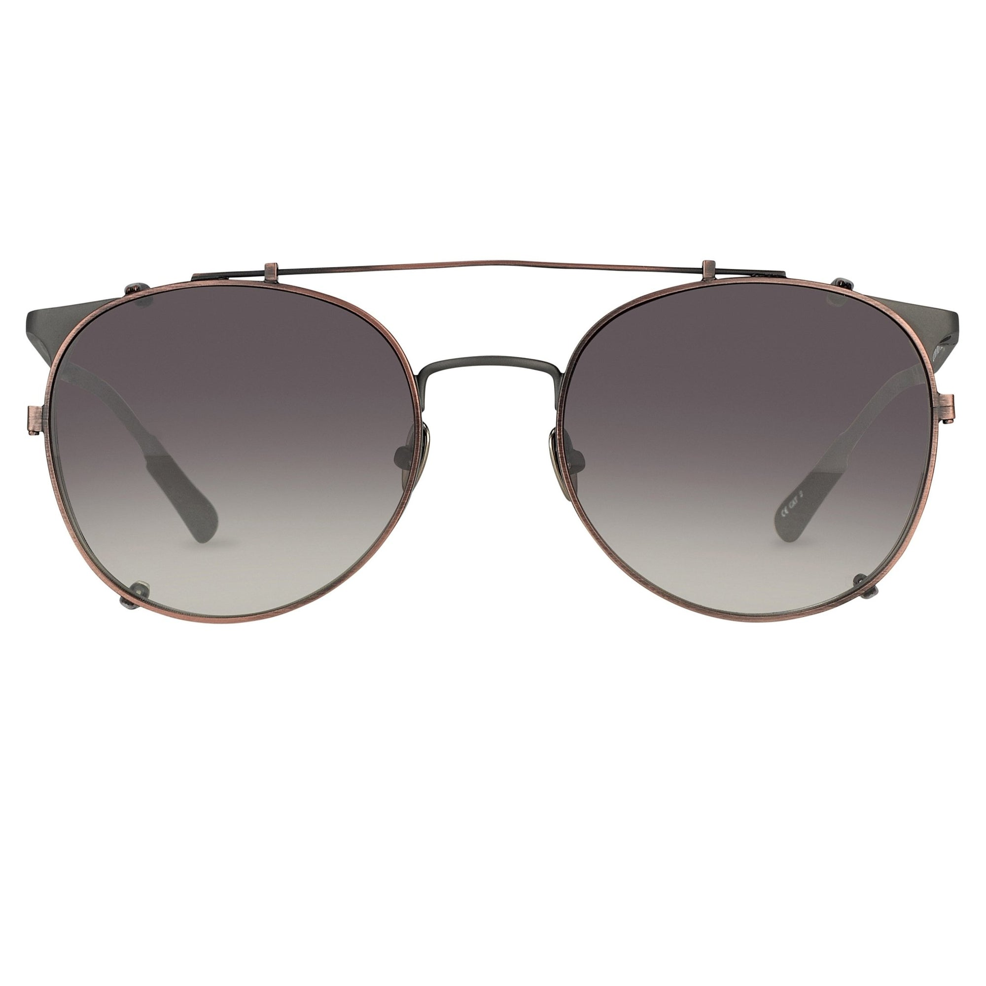 Kris Van Assche Sunglasses Unisex Oval Matte Grey Bronze Clip-On with Grey Graduated Lenses Category 2 - KVA69C3SUN - Watches & Crystals