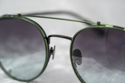 Kris Van Assche Sunglasses Unisex Oval Shiny Black Brushed Green Clip-On and Green Graduated Lenses - KVA69C4SUN - Watches & Crystals