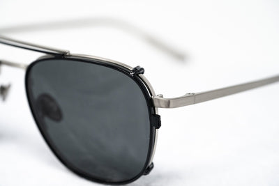 Kris Van Assche Sunglasses Unisex Titanium Brushed Silver Black Clip-On with Grey Lenses Category 3- KVA92C5SUN - Watches & Crystals