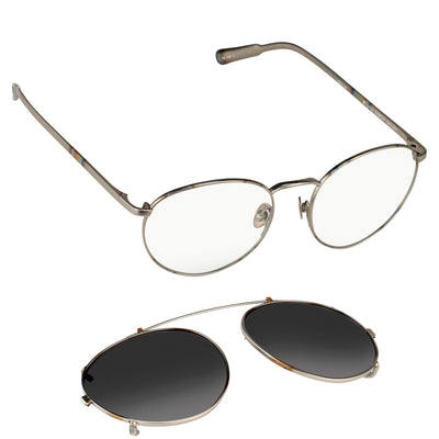 Kris Van Assche Sunglasses Unisex Titanium Oval Burnt Silver Silver Clip On and Grey Graduated Lenses Category 2 - KVA71C2SUN - Watches & Crystals