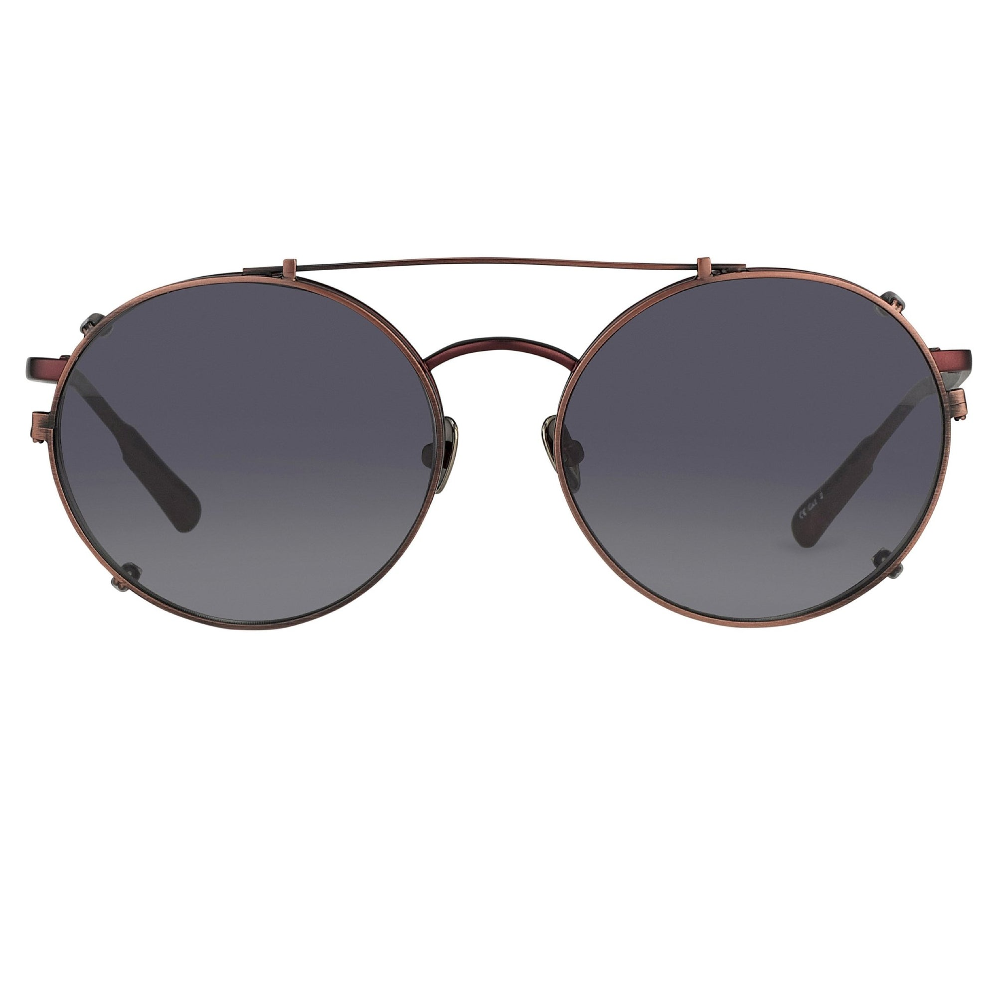 Kris Van Assche Sunglasses Unisex Titanium Oval Matte Burgundy Bronze Clip-On and Green Lenses Category 3- KVA70C5SUN - Watches & Crystals