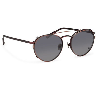 Kris Van Assche Sunglasses Unisex Titanium Oval Matte Burgundy Bronze Clip On and Grey Lenses Category 3 - KVA71C5SUN - Watches & Crystals