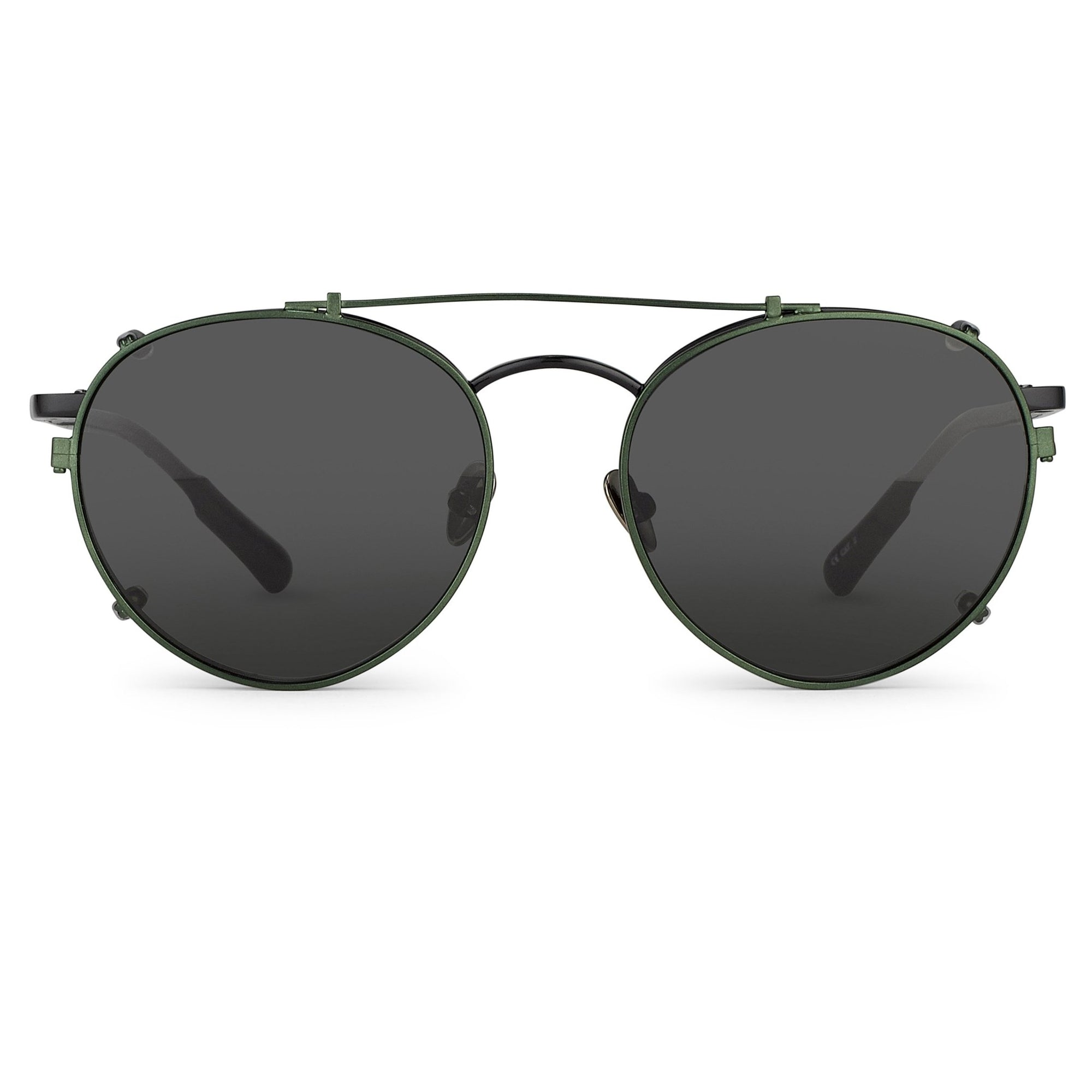 Kris Van Assche Sunglasses Unisex Titanium Oval Shiny Black Green Clip-On and Green Lenses Category 2 - KVA71C4SUN - Watches & Crystals