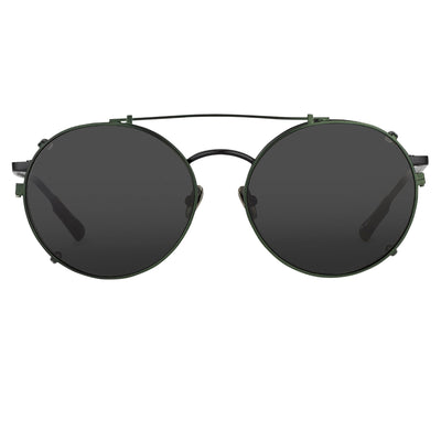 Kris Van Assche Sunglasses Unisex Titanium Oval Shiny Black Green Clip-On and Green Lenses - KVA70C4SUN - Watches & Crystals