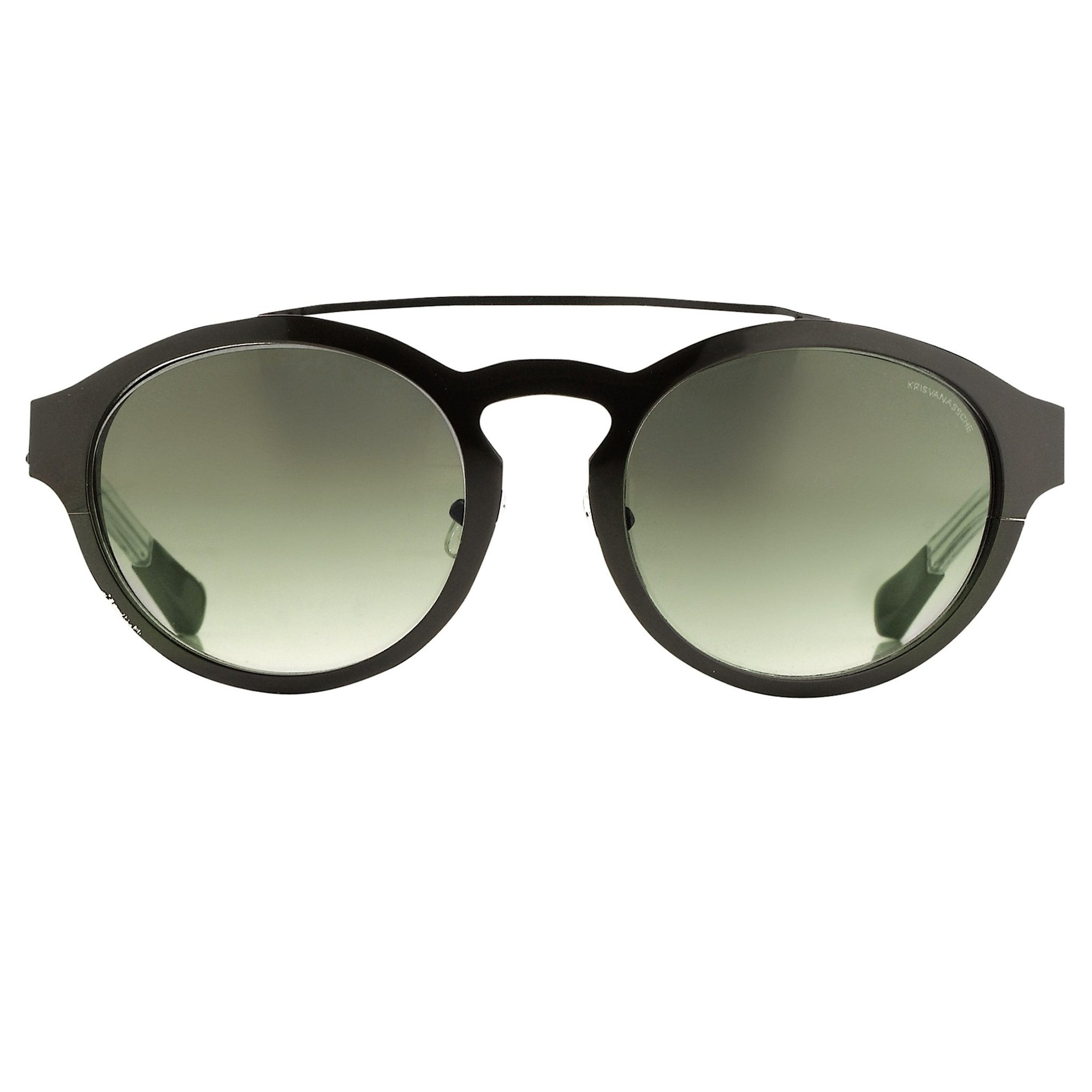 Kris Van Assche Sunglasses Unisex With Oval Black Metal and Green Graduated Lenses - KVA4C2SUN - Watches & Crystals