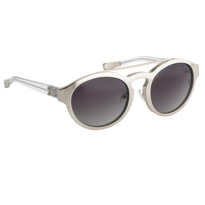 Kris Van Assche Unisex Sunglasses Oval Shiny Silver and Grey Graduated Lenses - KVA4C4SUN - Watches & Crystals