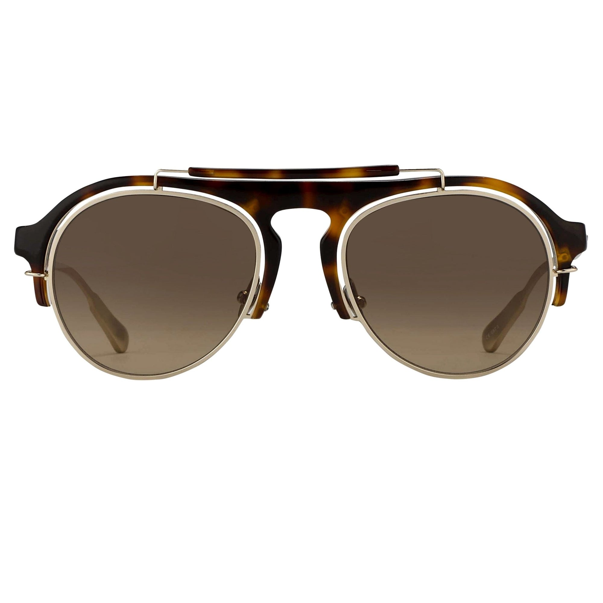 Kris Van Assche Unisex Sunglasses Tortoise Shell Antique Gold and Brown Graduated Lenses Category 2 - KVA65C2SUN - Watches & Crystals