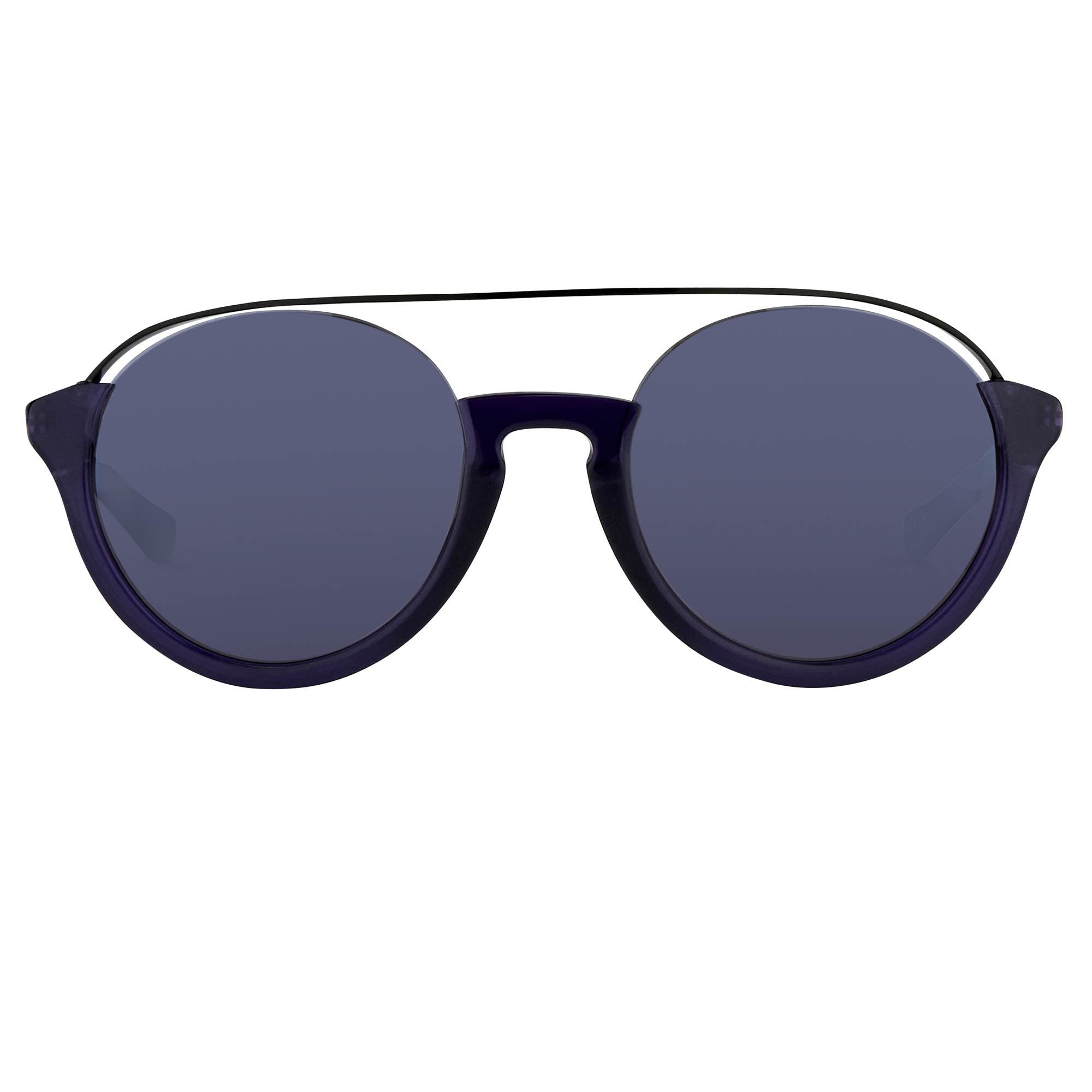 Kris Van Assche Unisex Sunglasses with Titanium Double Bridge Oval Navy Black and Blue Mirror Lenses Category 3 - KVA83C4SUN - Watches & Crystals