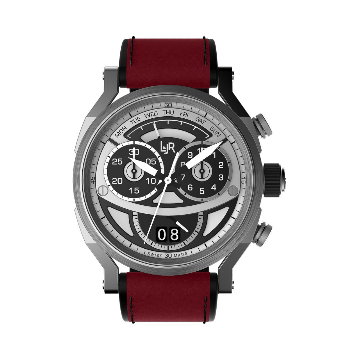 L&Jr Chronograph Day and Date 2 Tone Burgundy - Watches & Crystals