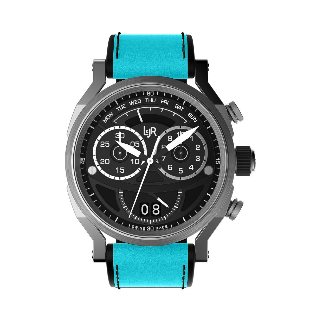 L&Jr Chronograph Day and Date Black Blue