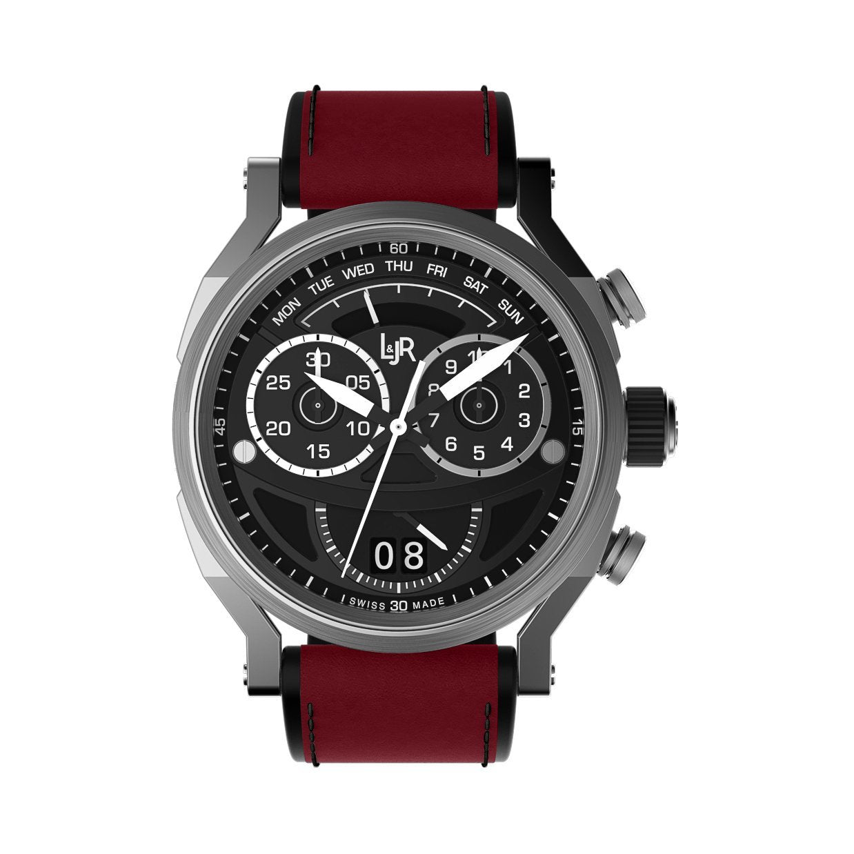 L&Jr Chronograph Day and Date Black Burgundy