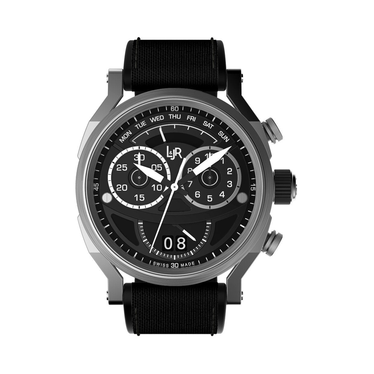 L&Jr Chronograph Day and Date Black Nylon