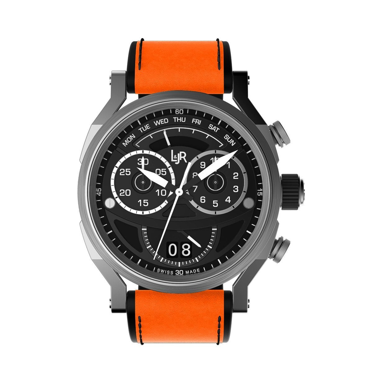 L&Jr Chronograph Day and Date Black Orange - Watches & Crystals