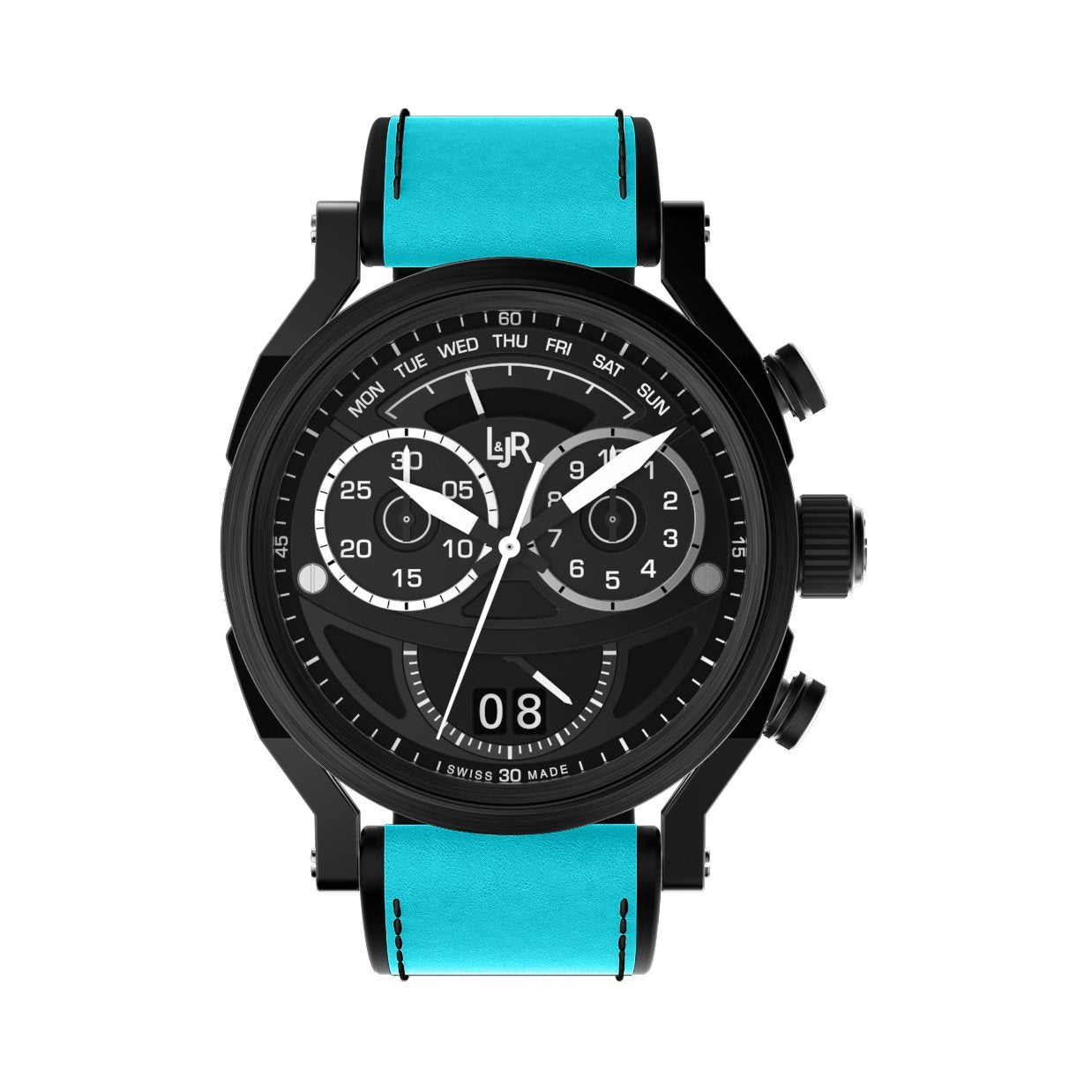 L&Jr Chronograph Day and Date Black PVD Blue