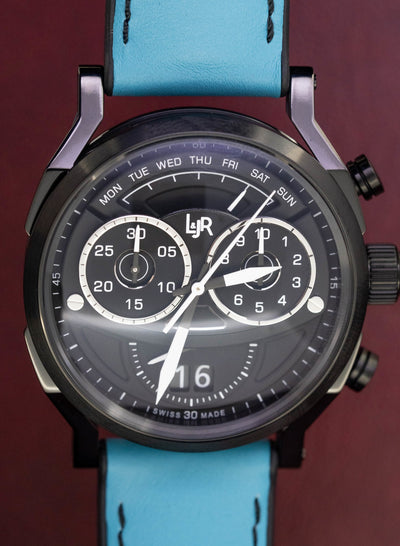 L&Jr Chronograph Day and Date Black PVD Blue - Watches & Crystals