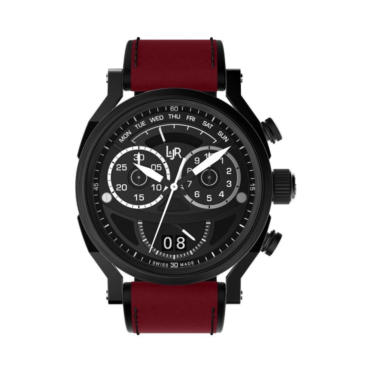 L&Jr Chronograph Day and Date Black PVD Burgundy - Watches & Crystals