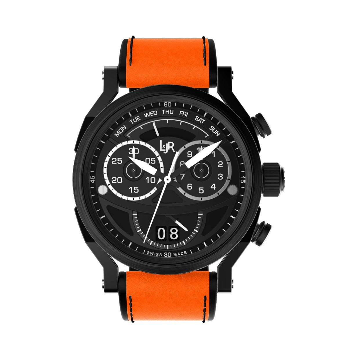L&Jr Chronograph Day and Date Black PVD Orange - Watches & Crystals