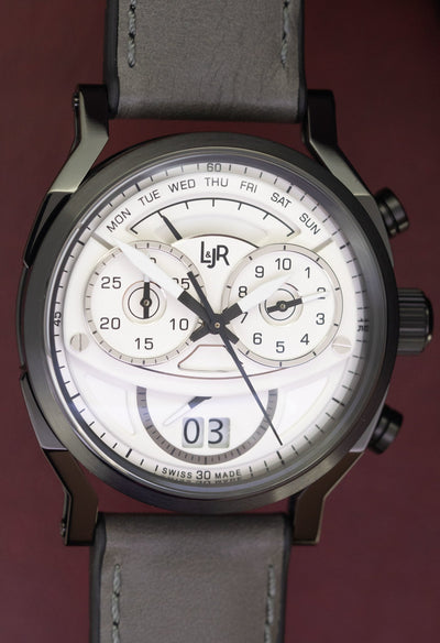 L&Jr Chronograph Day and Date Black PVD Silver - Watches & Crystals